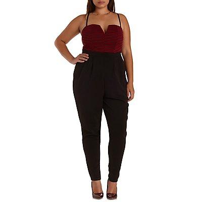 Plus Size Striped Color Block Jumpsuit