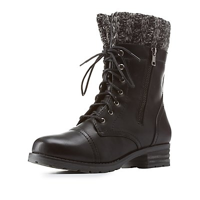 Sweater-Cuffed Lace-Up Combat Booties
