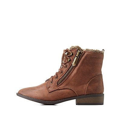 Qupid Shearling-Lined Combat Booties