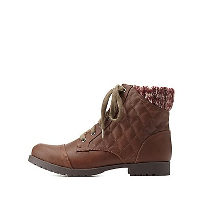 Qupid Sweater-Cuffed Quilted Combat Booties
