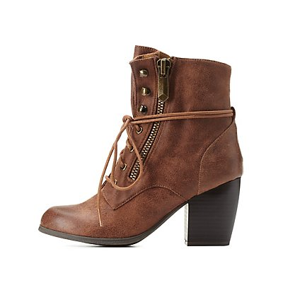 Qupid Chunky Heel Lace-Up Booties
