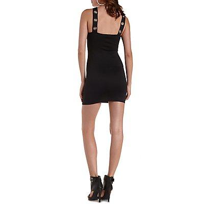 Grommet-Embellished Bodycon Dress