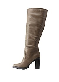 Pointed Toe Lug Sole Knee-High Boots