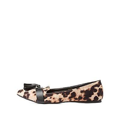 Leopard Print Pointed Toe Tassel Loafers