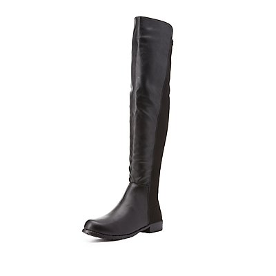 Bamboo Stretchy Flat Over-the-Knee Boots