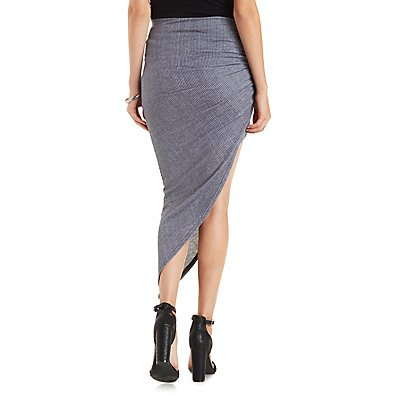 Ribbed & Knotted Asymmetrical Skirt