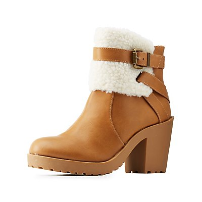 Shearling-Trim Belted Chunky Heel Booties