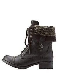 Sweater-Lined Foldover Combat Boots