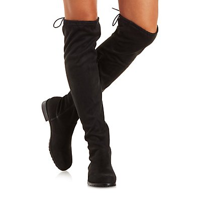 Bamboo Drawstring Over-the-Knee Boots