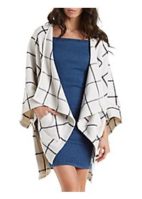 Double Zero Plaid Heavyweight Fleece Poncho