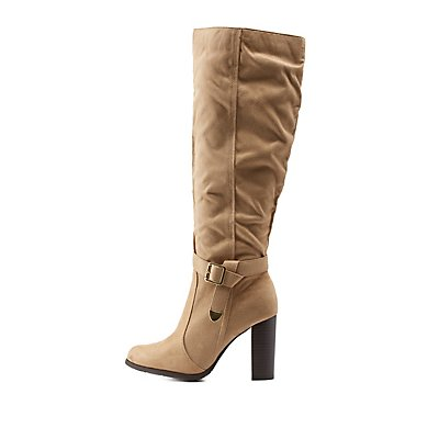 Belted Knee-High Chunky Heel Boots