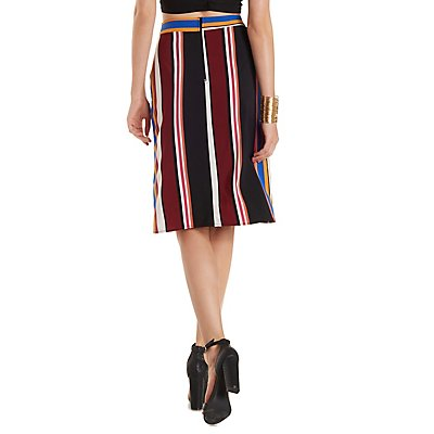 Sash-Belted Striped Pencil Skirt