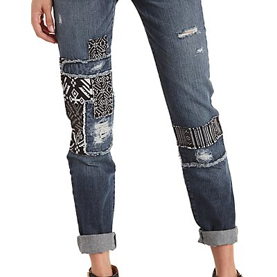 Patched & Distressed Skinny Jeans
