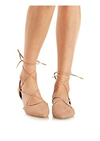 Qupid Lace-Up Pointed Toe D'Orsay Flats
