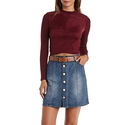 Faux Suede & Ribbed Long Sleeve Crop Top
