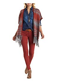 Geometric Print Open Front Fringed Poncho