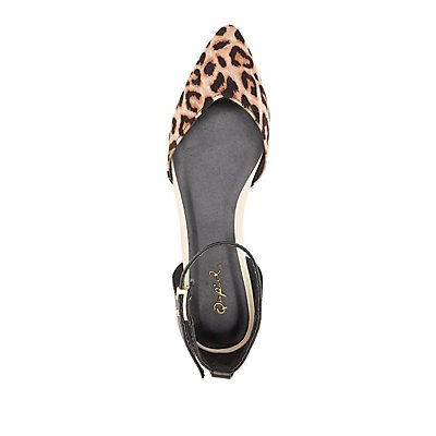Qupid Leopard Print Pointed Toe D'Orsay Flats