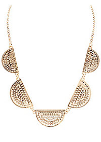 Rhinestone-Studded Half Circle Bib Necklace