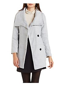 Wool-Blend Oversized Collar Coat