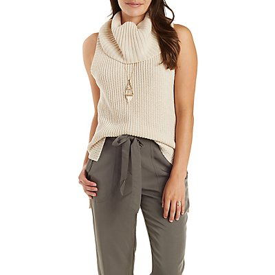 High-Low Sleeveless Turtleneck Sweater