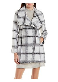 Plaid Wool-Blend Coat with Asymmetrical Zipper