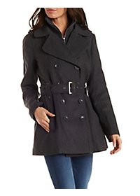 Double Collar Wool Trench Coat