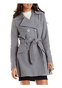 Belted Wool-Blend Trench Coat with Pockets