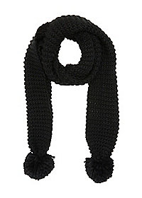 Sweater Knit Pom-Pom Scarf
