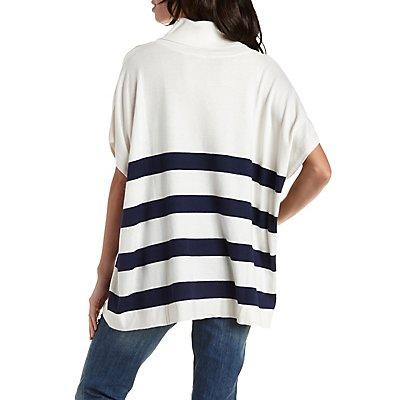 Striped Dolman Turtleneck Sweater