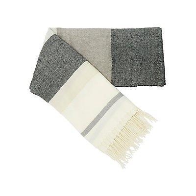 Striped Fringe Blanket Scarf