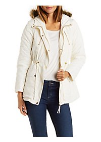 Faux Fur Trim Puffer Coat