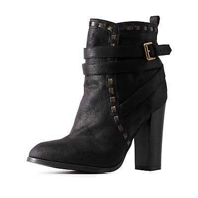 Qupid Contrast-Stitched & Belted Booties