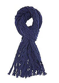 Open Knit Fringe Wrap Scarf
