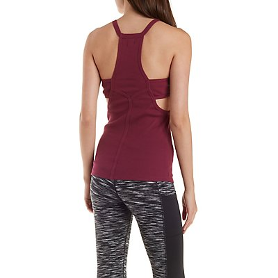 Active Racer Front Ribbed Tank with Cut-Outs