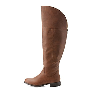 Curved Over-the-Knee Zipper-Trim Riding Boots