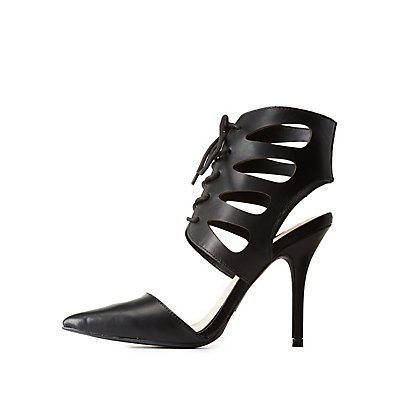 Caged Lace-Up Pointed Toe Pumps