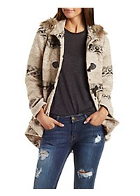 Tribal Jacquard Hooded Duffle Coat