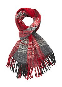 Tri Color Plaid Fringe Scarf