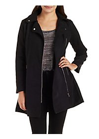 Wool-Blend Moto Trench Coat
