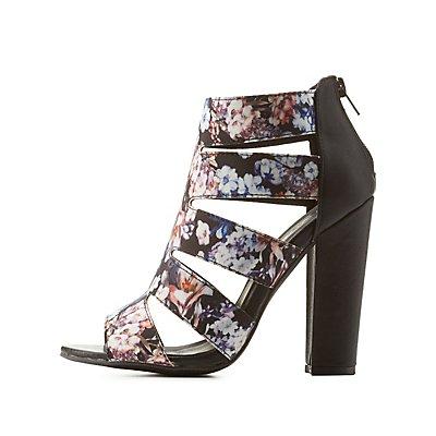 Qupid Caged Floral Print Heels