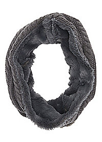 Fleece-Lined Cable Knit Infinity Scarf