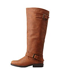Bamboo Studded Back-Zipper Knee-High Riding Boots