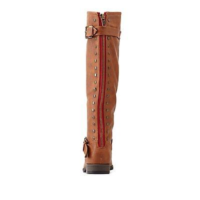 Bamboo Studded Back-Zipper Knee-High Riding Boots