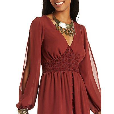 Refuge Collection Lace & Chiffon Maxi Dress