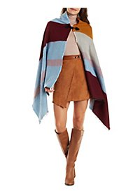 Asymmetrical Stripe Toggle-Front Cape