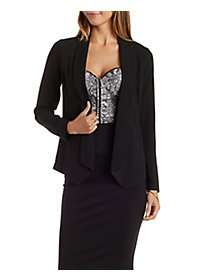 Open Collar Long Sleeve Blazer with Pointed Hems