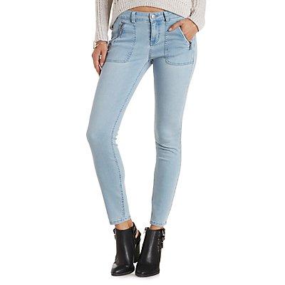 Refuge Light Wash Skinny Jeans with Zipper Pockets