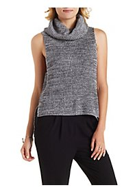 Sleeveless High-Low Turtleneck Sweater