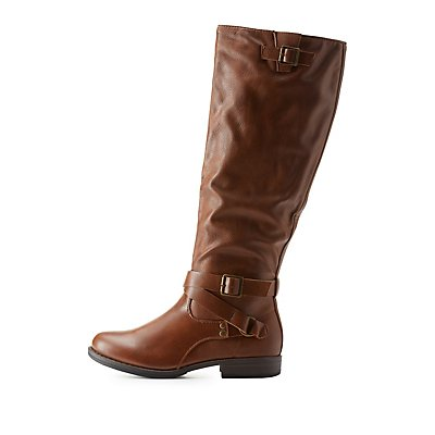 Bamboo Belted Knee-High Riding Boots
