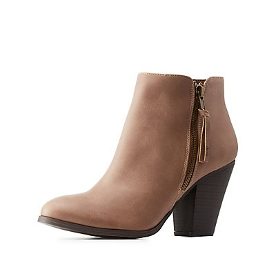 Side-Zip Chunky Heel Booties